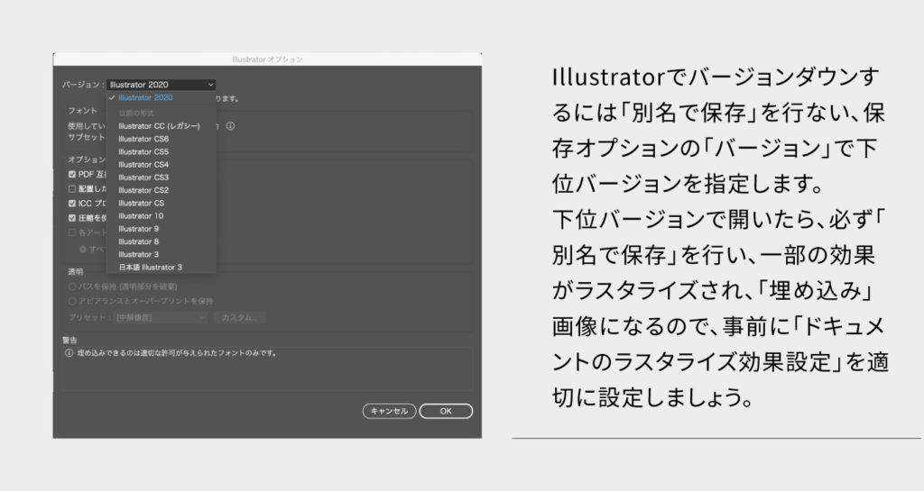 バージョンダウン入稿のUI