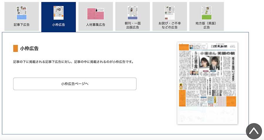 読売新聞記事下広告のキャプチャ