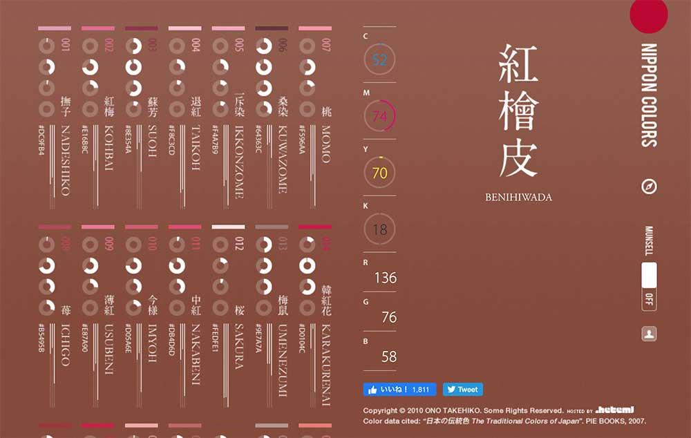 日本の伝統色のシュミレーターのサイト