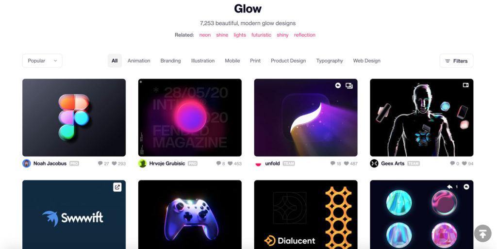 DribbbleよりGlowのデザイン例